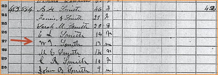 W T Smith - 1860 census